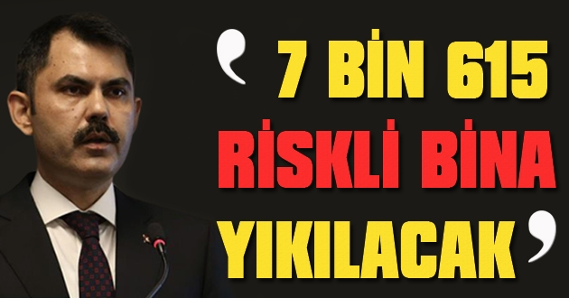 Çevre Bakanı: 7 bin 615 riskli bina yıkılacak!