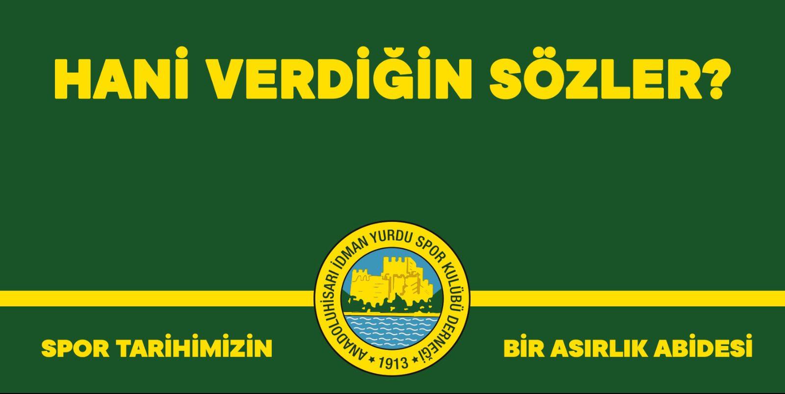 Anadoluhisarı I.Y Spor Kulübü'nden tesisleşme açıklaması