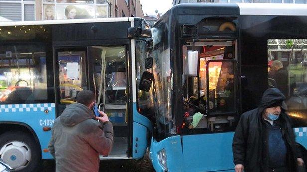Beykoz'da korkunç kaza: Otobüsler kafa kafaya girdi